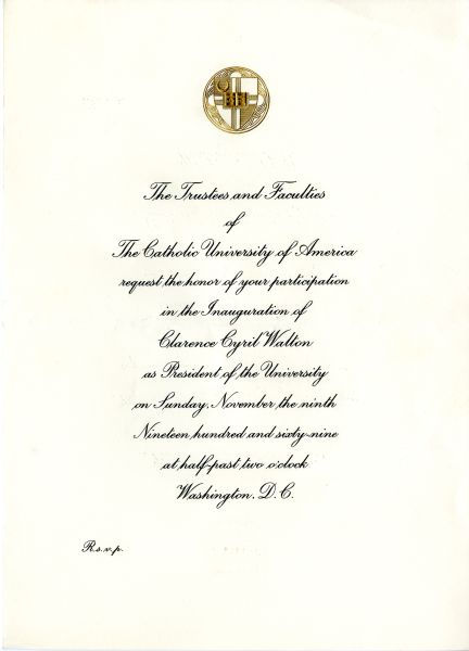 Galleries the catholic university of america an invitation to the 1969 inauguration of clarence c walton stopboris Choice Image